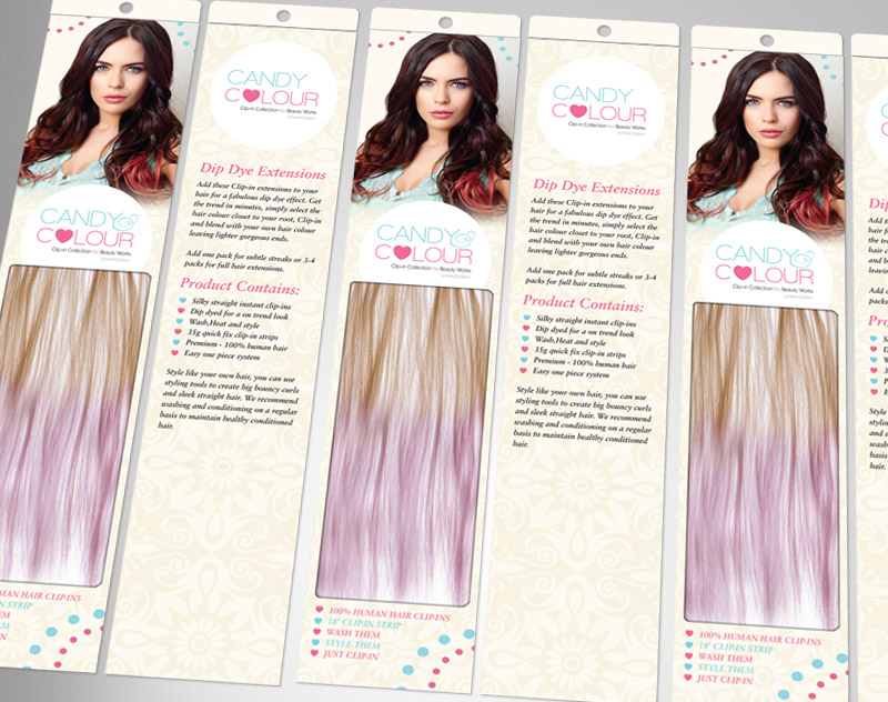 Candy Colour Dip Dye Hair Extensions Packaging Design Massxo