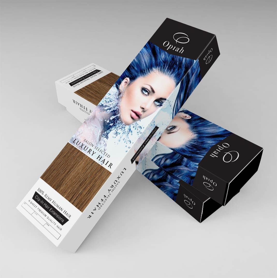 stacked hair extensions packaging boxes custom made in UK