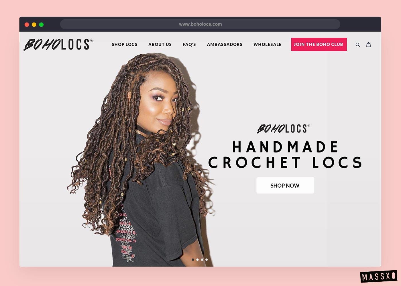 boholocs website design alternate splash version