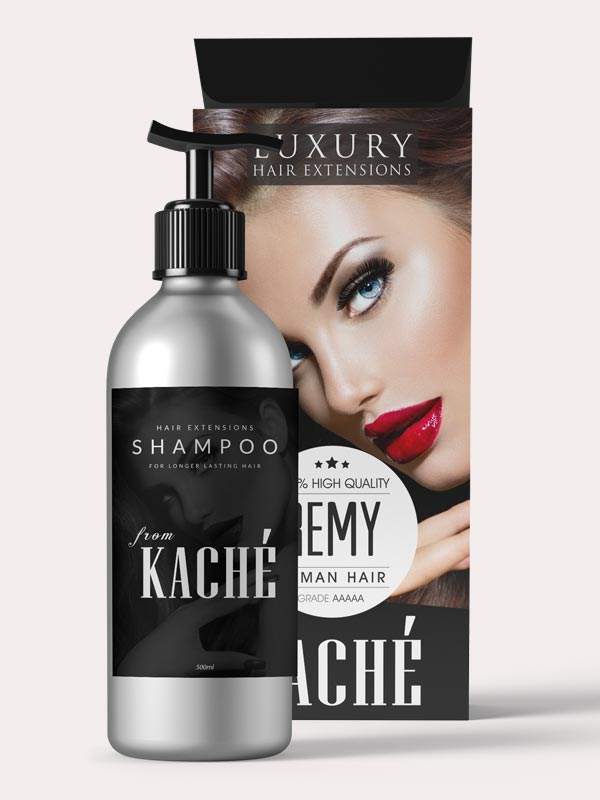 KACHE HAIR EXTENSIONS SHAMMPOO PRODUCTS PACKAGING DESIGN AND BRANDING BY MASSXO