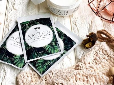 argan treatment mask for damaged hair packaging design