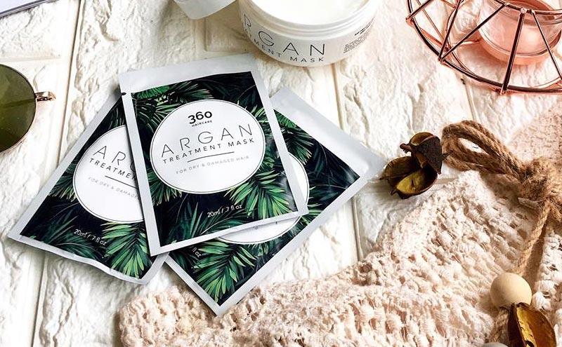 argan treatment mask for damaged hair packaging design